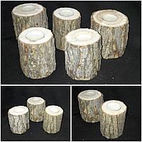 Натуральный декоративный подсвечник из сосны, выс. 10-15 см, 60/45 (цена за 1 шт. + 15 гр.)