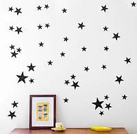 Наклейки звезды черные 48шт