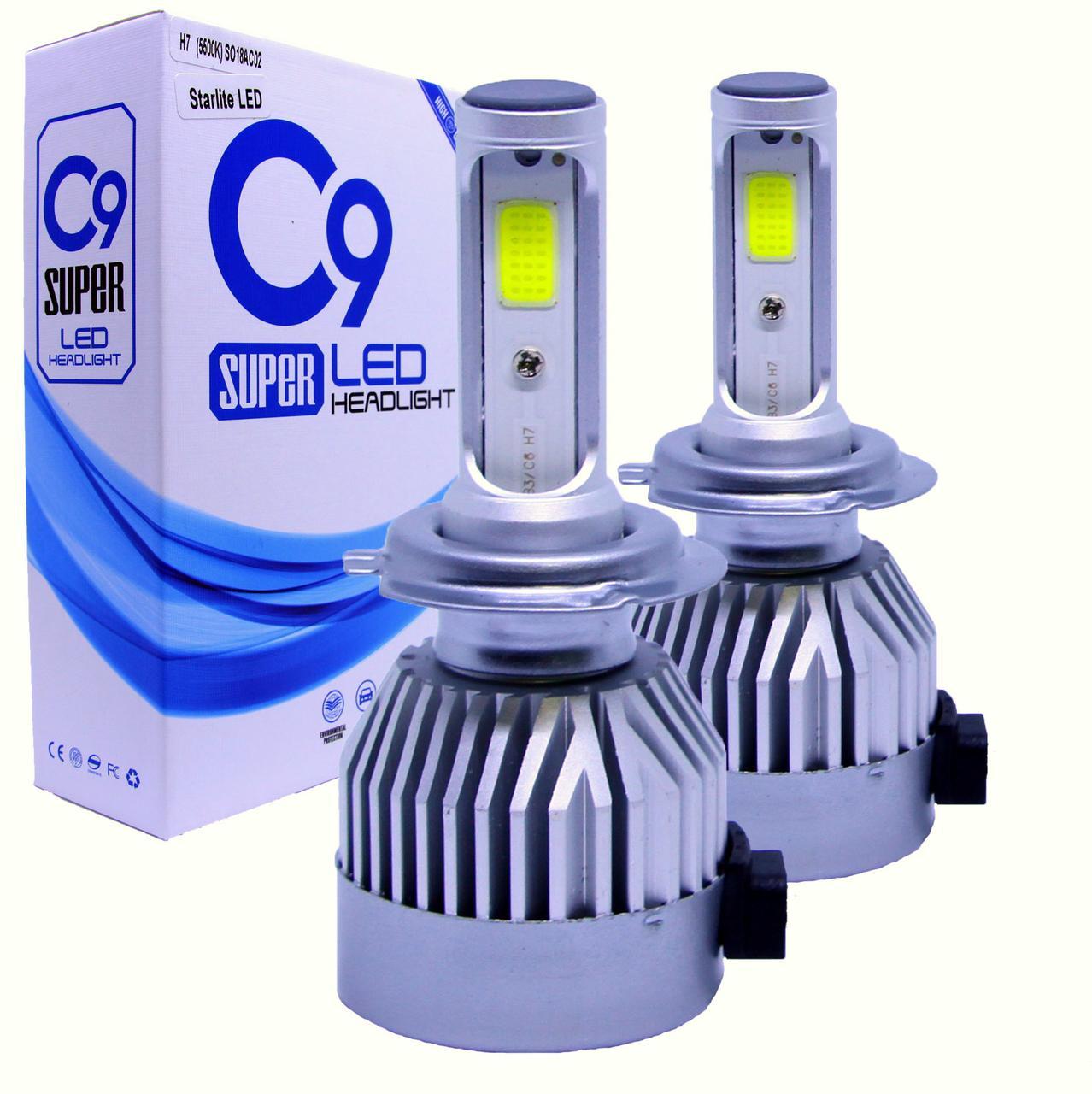 Лампа светодиодная для фар C9  H7 3800 Lum, цвет свечения 5500К, 2 шт/компл.