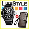 Мужские наручные армейские часы AMST + Кошелек Baellerry Business в Подарок - Фото