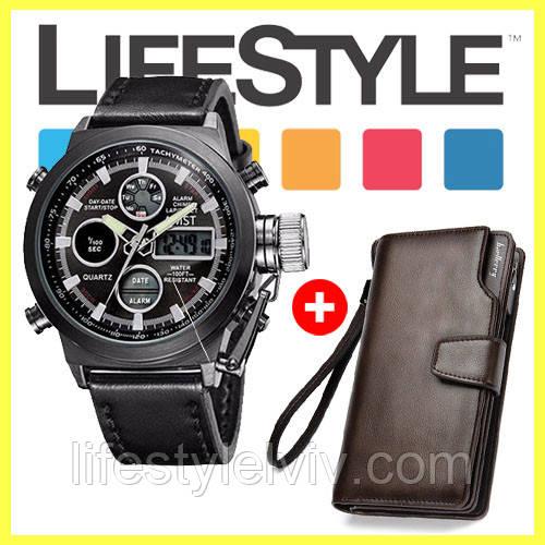 Мужские наручные армейские часы AMST + Кошелек Baellerry Business в Подарок