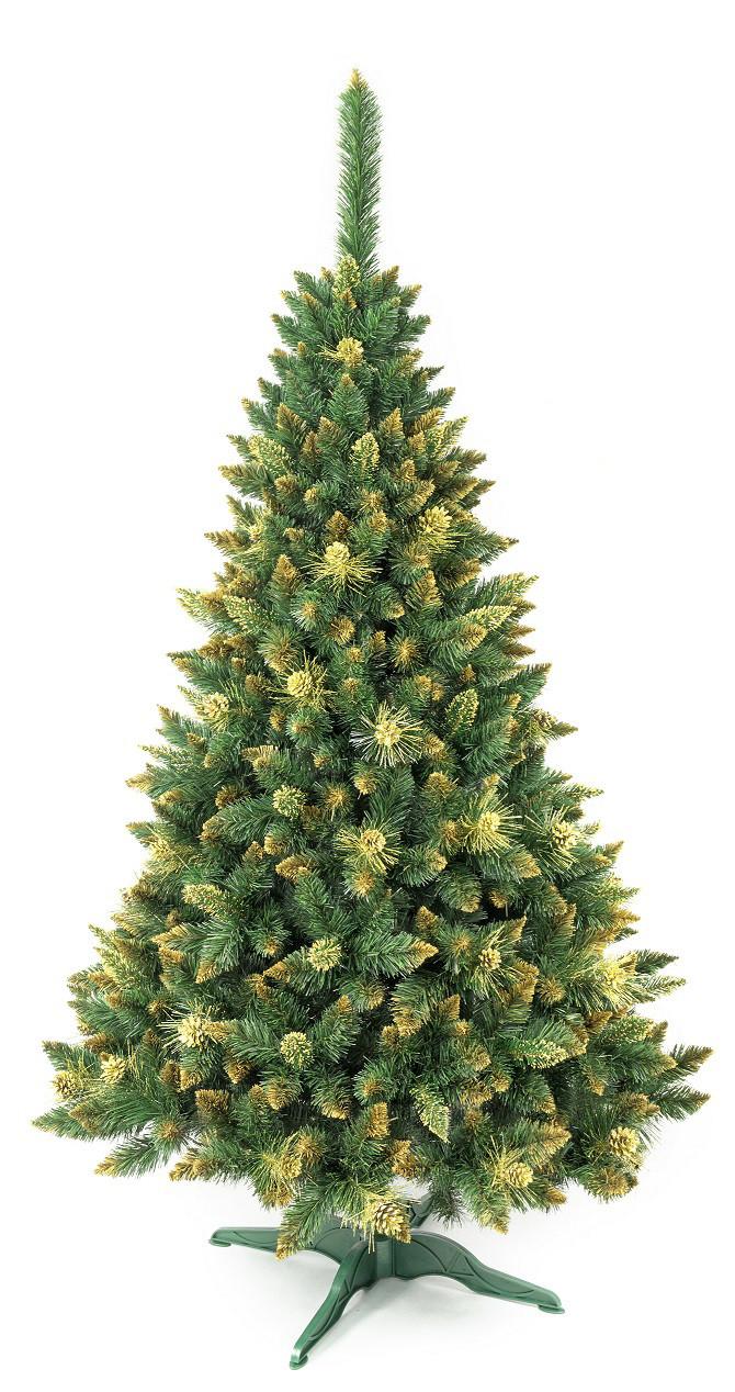 Искусственная новогодняя елка сосна 2,2 м с золотыми шишками рождественская