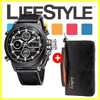 Легендарные мужские часы AMST + Кошелек Baellerry Leather  в Подарок