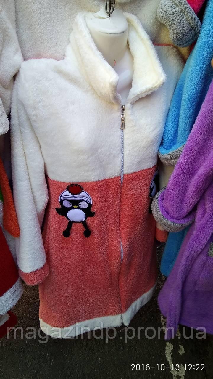 Женский теплый халат короткий на молнии 17 (12) Код:793742016