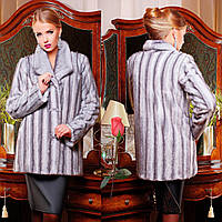 Очень красивая искусственная женская шубка Mr  77222  Серый, фото 1