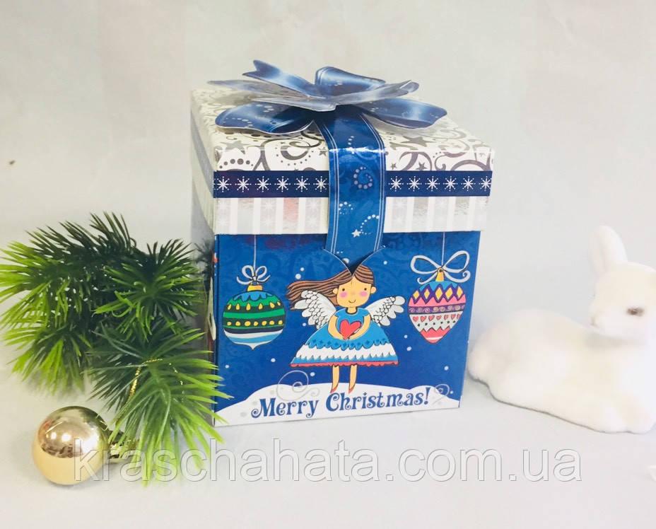 Картонная подарочная упаковка, Новогодний кубик, Merry Cristmas