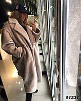 Пальто свободного кроя из ЭКО-меха кролика REX 01231 Дор Код:789139967