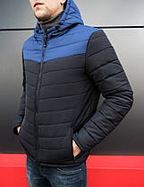 Куртка стеганая мужская с капюшоном черная/нави, фото 3