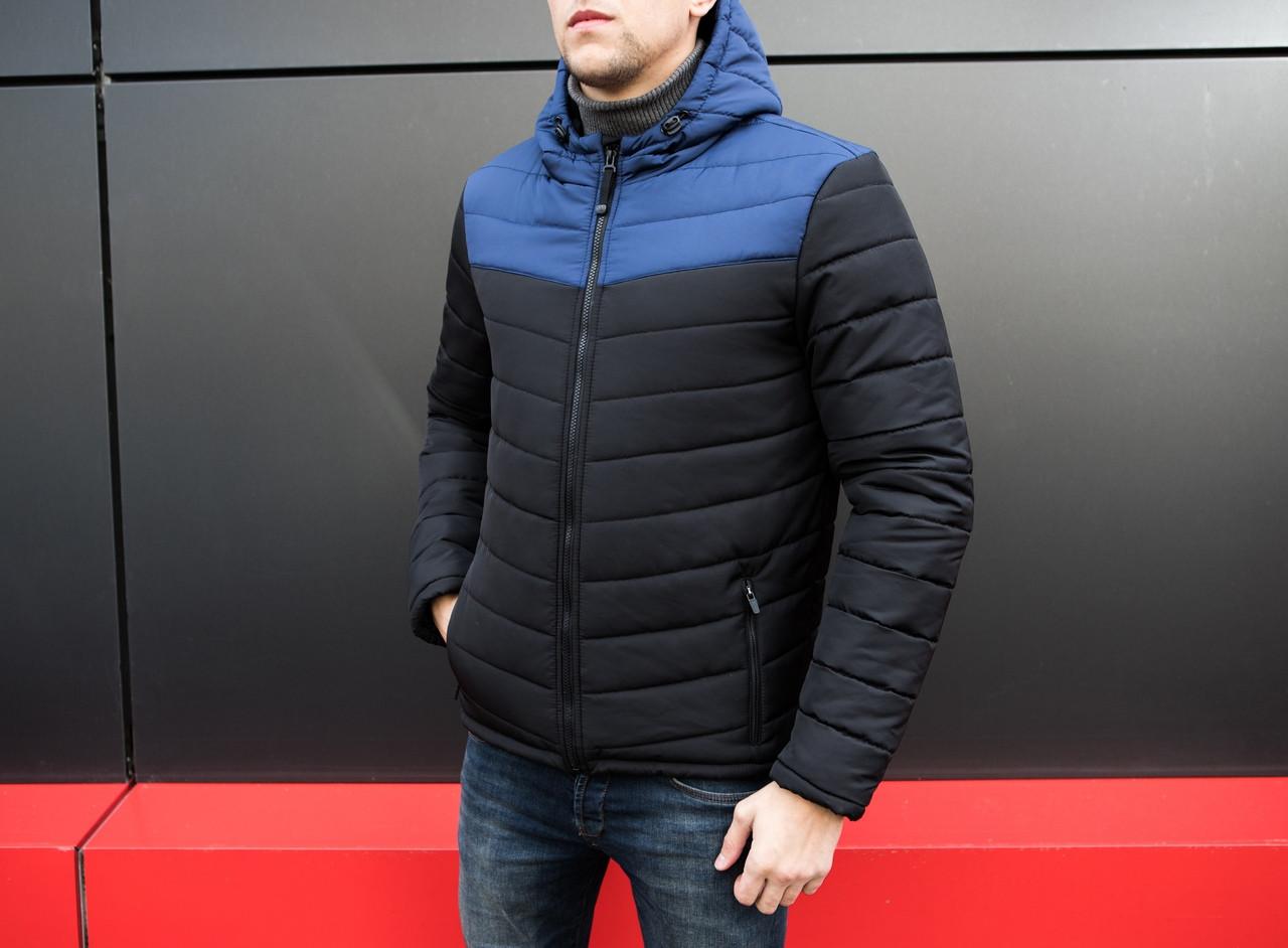 Куртка стеганая мужская с капюшоном черная/нави