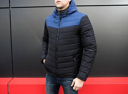 Куртка стеганая мужская с капюшоном черная/нави, фото 2