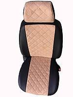 Чехлы на сиденья ВАЗ Лада 2107 (VAZ Lada 2107) (универсальные, экокожа+Алькантара, с отдельным подголовником)