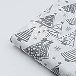 """Ткань новогодняя """"Ёлки разной формы"""" серые на белом фоне, № 1098, фото 5"""