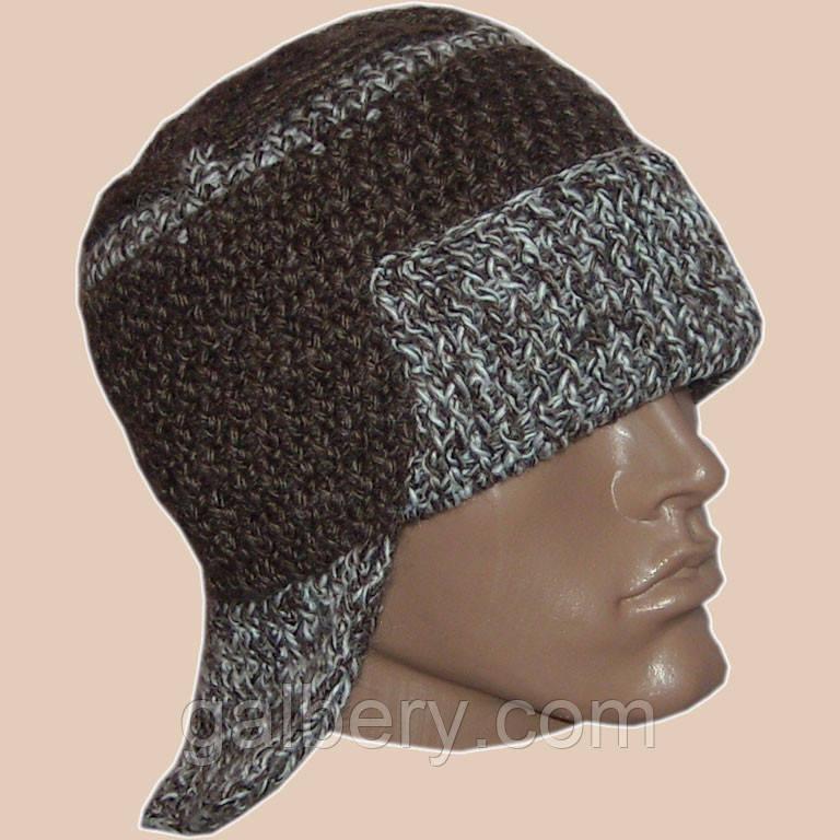 Мужская вязаная шапка - ушанка коричневого цвета