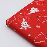 Новогодняя ткань красного цвета с ёлками № 458а, фото 3