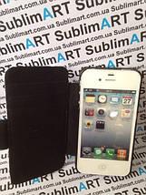 Чехол-книжка для 2D сублимации кожанный на Iphone 4/4S черный, фото 3