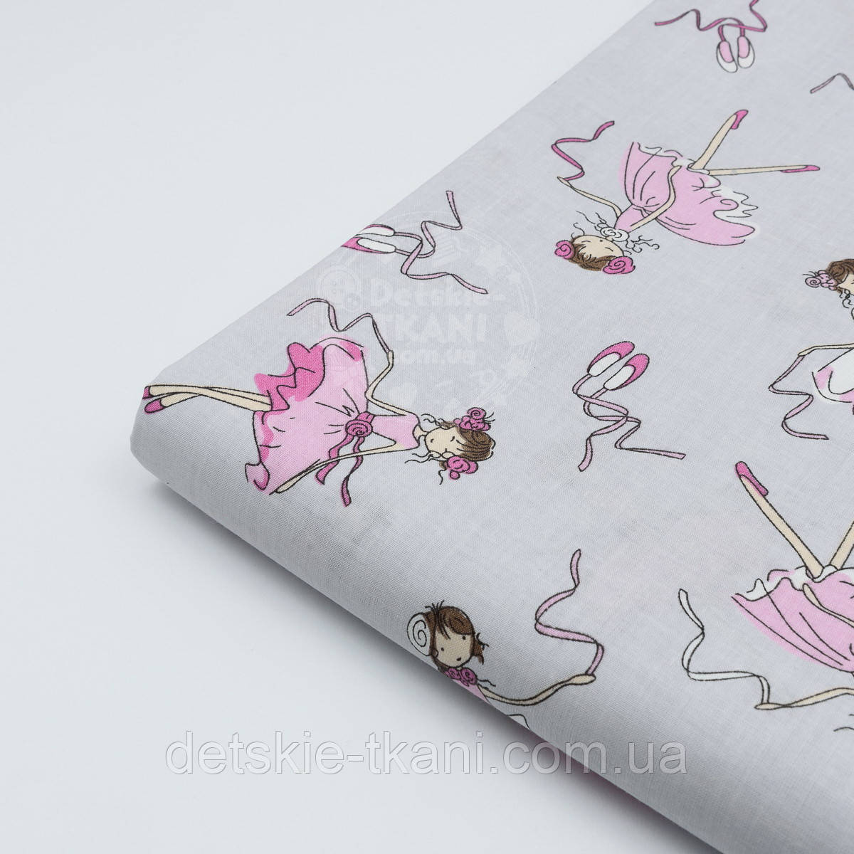 "Лоскут ткани №440а  ""Балерина на сером"" , размер 46*80 см"