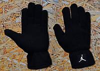 Перчатки мужские зимние теплые из поларфлиса черные Jordan Джордан