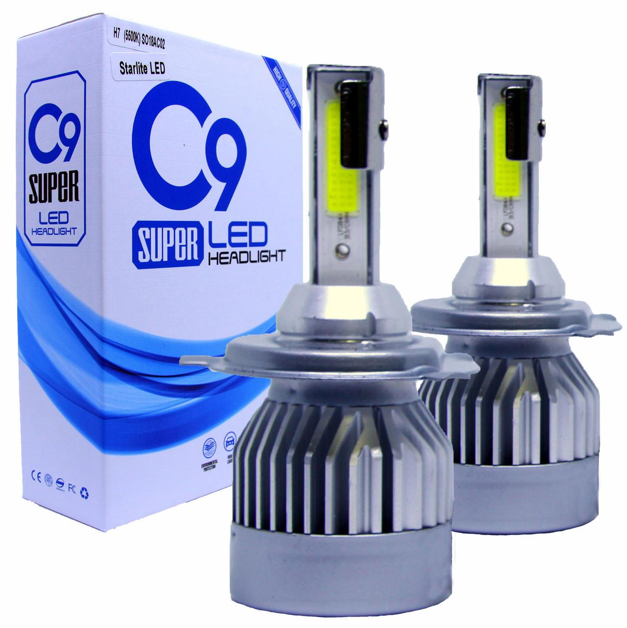 Лампа светодиодная для фар С9  H4 3800 Lum, цвет свечения 5500К, 2 шт/компл.