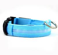 Светящийся ошейник голубой XL (40-60 см)