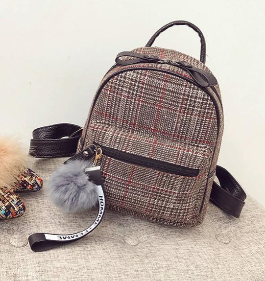 Рюкзак женский шерстяной с помпоном Коричневый