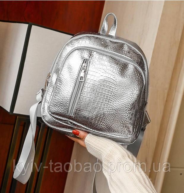 7ddbb66e1b42 Мини рюкзак из эко кожи лакированный серебро: продажа, цена в Киеве ...