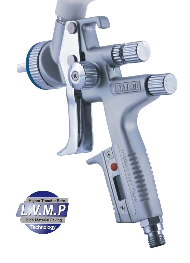Краскопульт пневматический LVMP верх.пласт.бачок 600мл, форсунка-1,3мм Italco H-5000-Digital-1.3LM