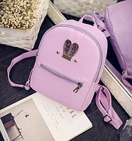 Рюкзак женский кожзам яркий с ушками Фиолетовый, фото 1