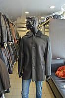 Дубленка мужская удлиненная, серого цвета.
