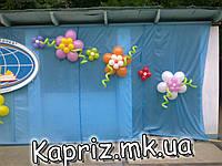Цветы двойные из шаров на витрину и фасад здания