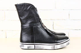 Женские демисезонные ботинки, черные, из натуральной кожи, с молнией 40