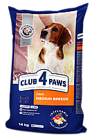 Сухой корм Клуб 4 Лапы Premium для собак средних пород 14КГ