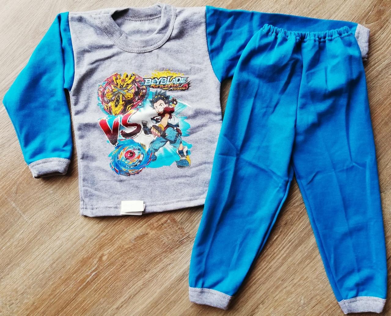 Детская тёплая пижама на байке Beyblade на мальчика размер 28