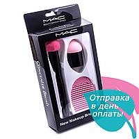 Набор для макияжа MAC (2 вида спонжей на ручке + щетка для очистки спонжей)