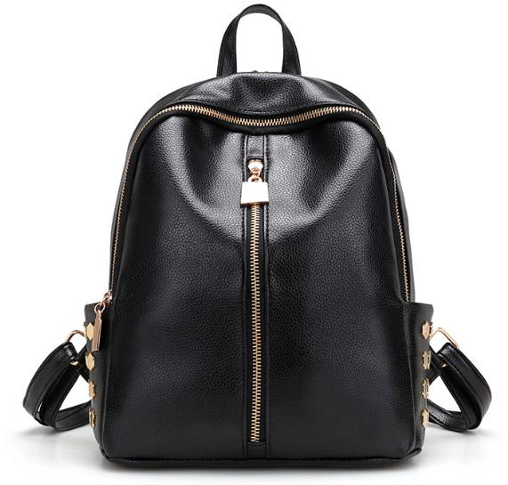 Рюкзак женский кожзам Kelli Черный вертикальный карман