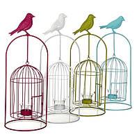 Декор для сада Подсвечник-клетка для птиц, в ассорт.