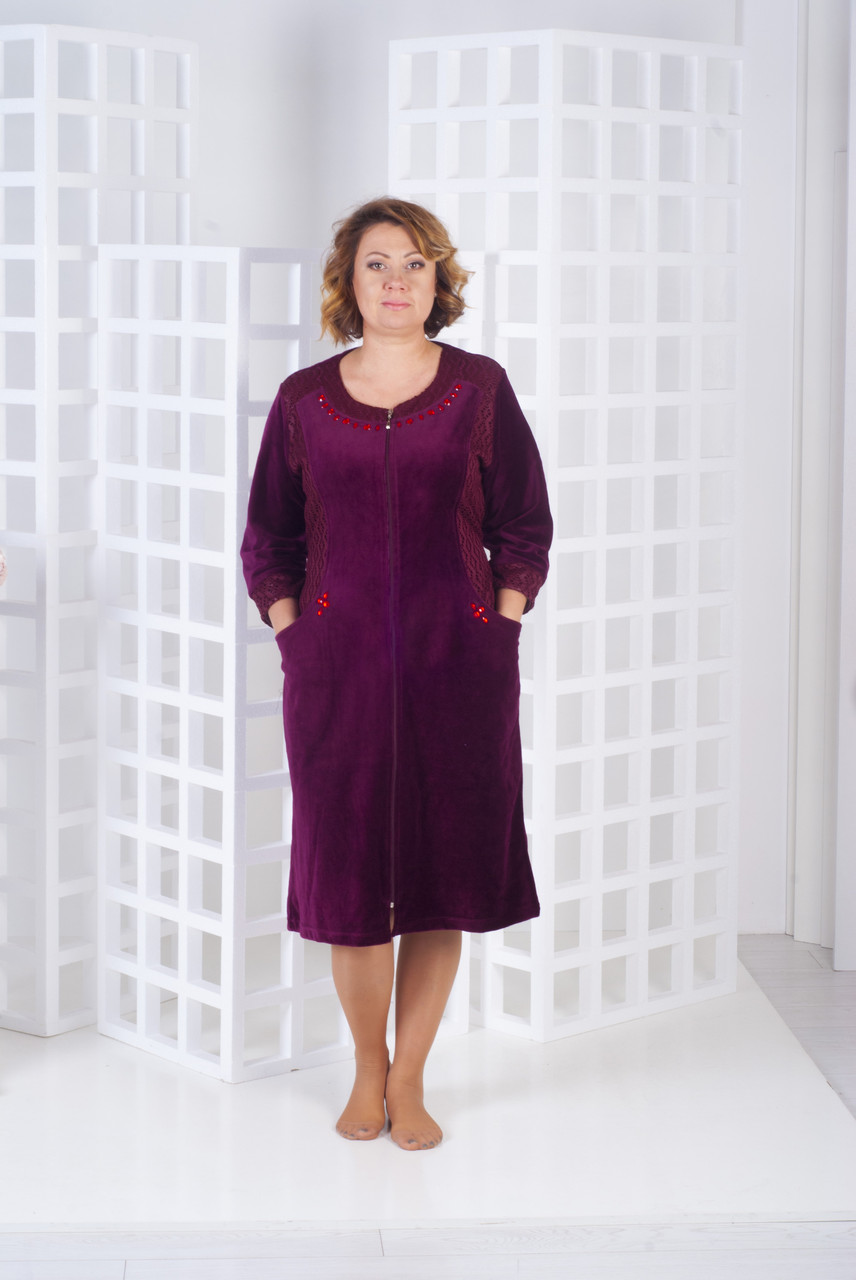 Халат жіночий велюровий з гіпюрової вставкою 52-54 розмір
