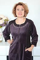 Велюровый халат женский с гипюровой вставкой, фото 1
