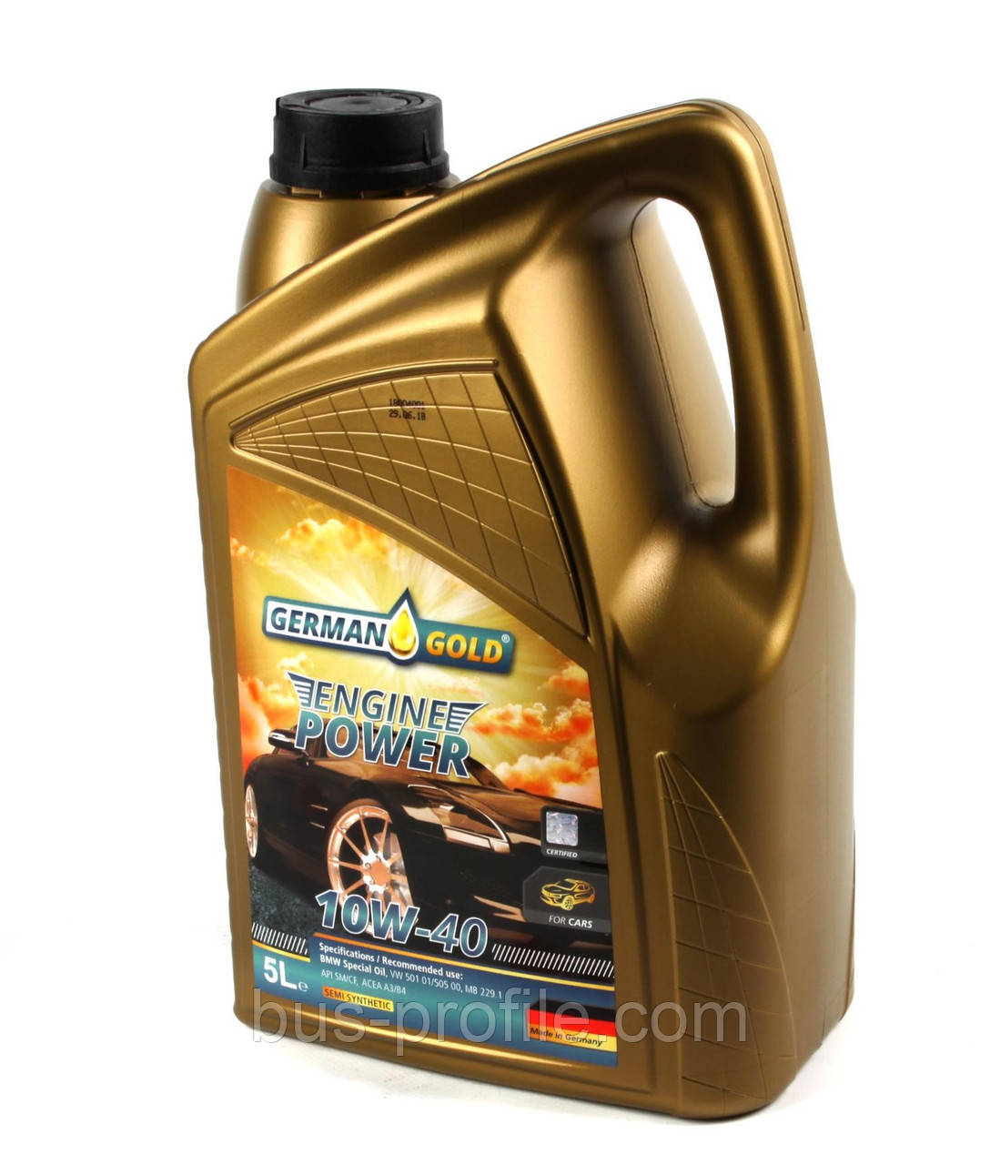 Масло 10W40 Engine Power (5L) (ACEA/A3/B4 API/SM/CF VW/501.01/505.00/MB 229.1/BMW Special Oil) — German Gold