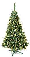 Искусственная елка сосна 2,2 м с золотыми шишками, фото 1