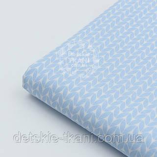 """Отрез хлопковой ткани Bora """"Свитерок"""", цвет голубой ( № 680 б) размер 55*160"""