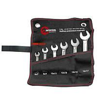 Intertool XT-1101 Набор рожковых ключей 6шт. 6-17мм Cr-V, покрытие сатин-хром; PROF DIN3110