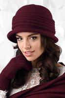Салерно(Salerno) женская вязанная шапка ТМ Kamea, бордо цвет