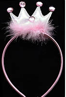 Корона принцессы с пухом на обруче Розовая
