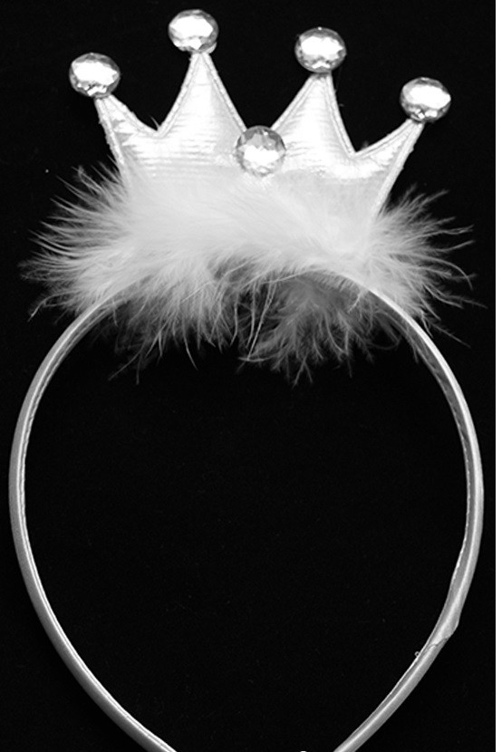 Корона принцессы с пухом на обруче Белая