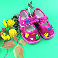 Тапочки на девочку с липучкой в детский сад текстильная обувь Виталия Украина размеры р.19 по 22,5