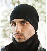 """Комплект шапка и шарф вязаная мужская """"Квин"""" черный 906041, фото 1"""