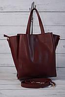 Женская сумка мини шоппер, цвет марсала, фото 1