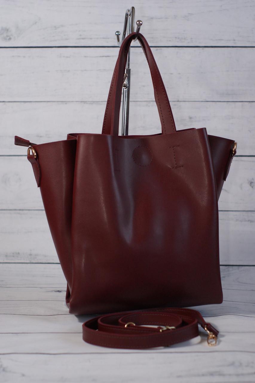 Женская сумка мини шоппер, цвет марсала
