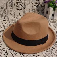 Женская фетровая шляпа Челентанка бежевая, фото 1