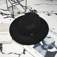 Женская фетровая шляпа Федора с устойчивыми полями и лентой черная